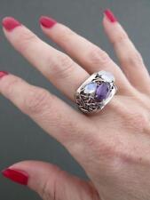 Vintage Moonstone Amethyst Silver Modernist Ring