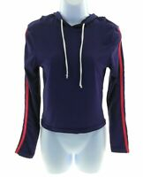 Planet B Juniors Navy Blue Hooded Long Sleeve Cropped Top Size M/L