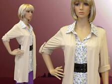 Damen Kleid Bluse beige V-Ausschnitt 3/4-Arm mit Gürtel L XL