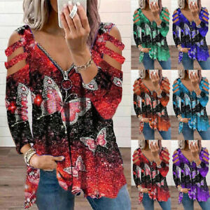 Women's Long Sleeve Butterfly Print Tops T-Shirt Cold Shoulder Zipper V Neck Tee
