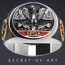 IMPERIAL ROMAN EAGLE SPQR SILBER RING 24K-GOLD-PLATED - RÖMISCHER ADLER