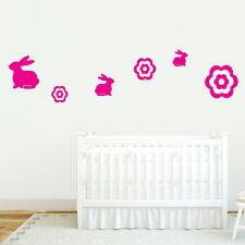 Bunnies and Flowers - Nursery & Kids Room Animal Flowers & Shapes Wall Decals