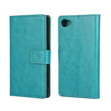 For Sony Xperia Z5 Compact Leather Wallet Card Flip Case Cover Stand Turquoise