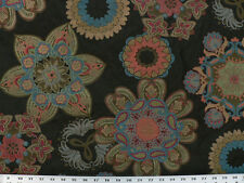 Drapery Upholstery Fabric Heavy Weight Jacquard Suzanni Floral Design - Black
