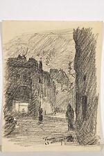 Jules PONCEAU 1881-1961 Dessin Vanves 1905 Une rue la nuit, Clair-Obscur