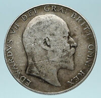 1906 UK - GREAT BRITAIN King EDWARD VII Genuine Old Silver 1/2 Crown Coin i83497