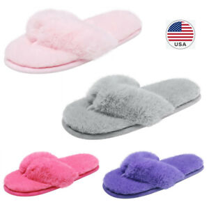 Womens House Fluffy Fuzzy Memory Foam Open Toe Flip Flop Slip On Indoor Slippers