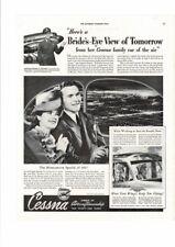 VINTAGE 1942 CESSNA AIRCRAFT PLANE HONEYMOON BRIDE PILOT MILITARY AD PRINT
