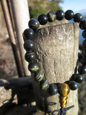 RARE GENUINE HAWKS EYE 8MM TIBETAN BUDDHIST WRIST MALA -tiger eye's gray brother