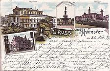 AK Hannover gel. 1897 Mehrbildkarte Theater Technische Hochschule Rathaus Schlos