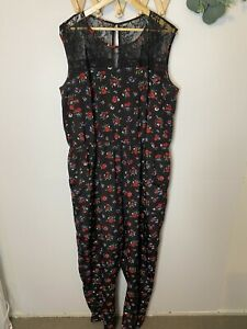 City Chic Size Large Body Suit - Black Floral design lace Gathered Waist Pockets