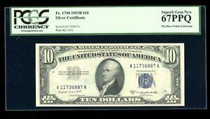 DBR 1953-B $10 Silver Superb Gem Fr. 1708 PCGS 67 PPQ Serial A11736887A