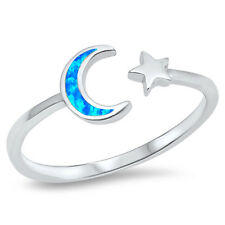 Open Moon Star Blue Lab Opal Cute Ring New .925 Sterling Silver Band Sizes 3-12