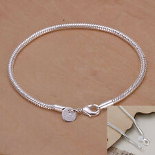 Wholesale Silver 3mm Snake Chain Bracelet MenFashion Jewelry