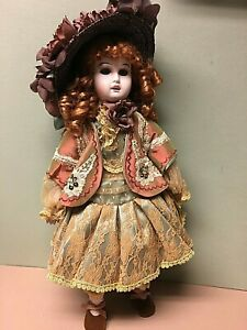 """CHRISTINE ET CECILE Porcelain 17"""" Doll """"Louise"""" From The MUNDIA Collection W/Box"""