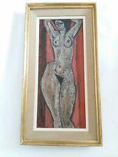 Peinture  à  l'huile  Nu signée Nora Frenkel artiste Israeli Americaine  XXe