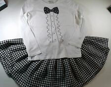 Old Navy Glitter Tuxedo Top/Black & White Check Twirl Skirt 6 7 8 Outfit Lot G2