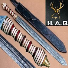 34.50 Inch Hand Made Custom  Damascus Steel Swards H.A.B.CLASSICKNIVES {QN-381}