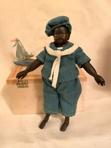 """Antique 1890 Jolly little sailor 6"""" small doll restored,handcarved wooden limbs"""