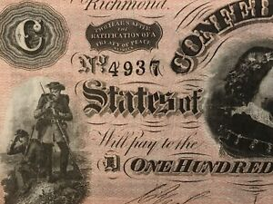 """1864 $100 Confederate States Of America """"BRIGHT PINK"""" Graded ABOUT UNCIRC 55"""