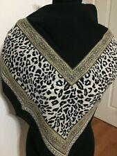 "Big & Bold Statement Scarf 44"" Square Leopard Animal Print Black Tan Polyester"