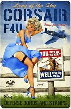 Corsair F4U Lady of the Sky rusted steel sign 460mm x 300mm (pst 1812)