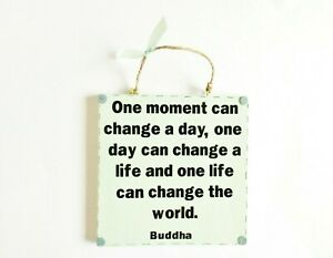 Change The World Buddha Quote Wall Plaque Home Decor Inspiring Positive Gift