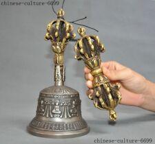 "9""  Tibet Buddhism bronze Tibetan silver Exorcism Dorje Vajra Phurpa Bell statue"