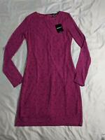 Forever 21 Women's Floral Mesh Long Sleeve Mini Dress MW7 Magenta Small NWT
