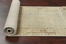 Antique MUTED Evenly Low Pile Oushak Turkish Distressed Runner Rug Wool 2'x13'