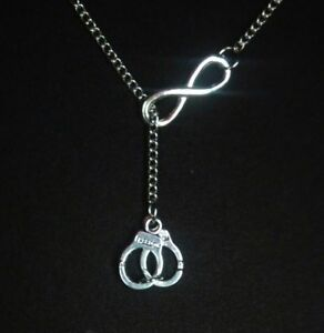Infinity Handcuff Partners In Crime Police Officer Wife Lariat Style Necklace