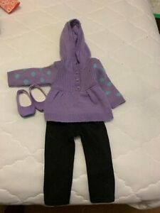 American Girll doll clothes Purple hoodie sweater, matching shoes, black legging