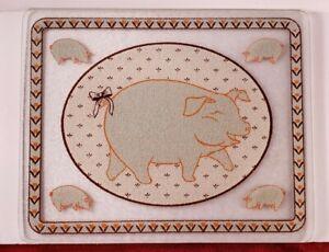 "Tempered Glass Cutting Board/Trivet Happy Pig Design 15""x12"" Brown Orange White"