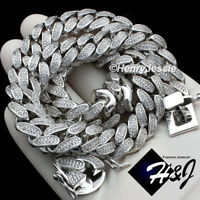 "18-30""MEN 14K WHITE GOLD FINISH 12MM MIAMI CUBAN CURB LINK CHAIN NECKLACE*BN1"