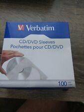 Verbatim CD/DVD Paper Sleeves-with Clear Window 100pk New