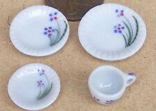 1:12 Scale 4 Piece Single Sitting Floral Motif Ceramic Tea Set Dolls House TS18
