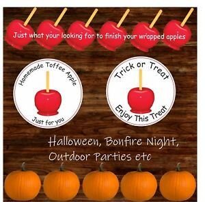 32 Toffee Apple Stickers Halloween or Bonfire  night Trick or Treat  gift label