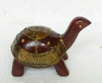 Handcrafted Wooden Brass Fitted Tortoise Statue Home Decor