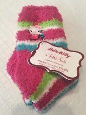 Nwt Girls Hello Kitty Plush Anklet Socks Pink Stripe Shoe Sz 7.5- 3.5 Youth