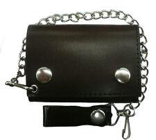 Men Biker Chain Wallet Genuine Leather Brown Tri Fold