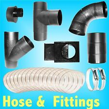 100mm Dust Extractor Hose / Clips / Elbow Tee Connector Hood Gate extraction