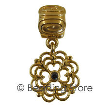 NEW Pandora 14ct Gold Marigold Black Diamond Fixed Clip Charm Bead 750812DB 14k