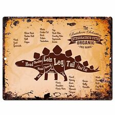 Pp0668 Vintage Stegosaurus dinosaur Meat Cuts sign Home Store Kitchen Decor