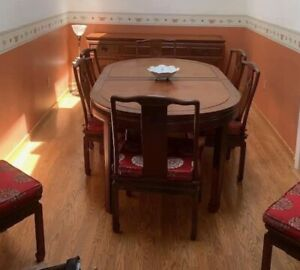 """Authentic Rosewood Chinese Oval dining Table W 10 chairs & 72"""" Sideboard Buffet"""