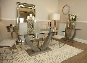 Stunning Caspian Toughened Clear Glass & Chrome Grey Dining Room Kitchen Table
