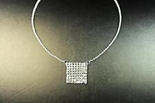 STERLING SILVER NECKLACE SQUARED ROMAN SILVER SEQUINED PATCH PENDANT (CL13)