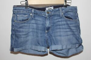 Womens PAIGE denim jeans shorts cuffed Size 29 cotton stretch blend blue wash