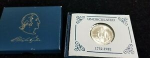 1732-1982 George Washington 90% Silver Commemorative Half Dollar Uncir Coin, COA
