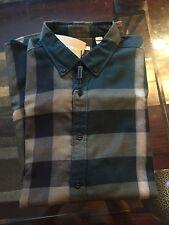 New Authentic Burberry Nova Check Plaid Teal Blue Haymarket Men Shirt S $295