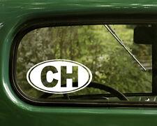 2 CH SWITZERLAND DECALs Oval Sticker For Bumper Truck Car Rv Window Laptop
